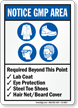 Required Beyond Point Lab Coat Eye Protection Sign