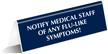 Notify Medical Staff Of Flu-like Symptoms Tabletop Sign