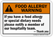 Notify Our Hospitality Team Allergy Warning Sign
