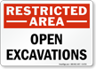 Open Excavations Restricted Area Sign