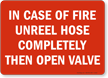 In Case Of Fire Unreel Hose Sign