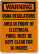 Warning Electrical Panel Clear OSHA Sign