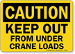 Caution Keep Out Crane Loads Sign
