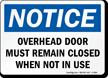 Overhead Door Remain Closed Notice Sign