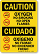 Oxygen No Smoking No Open Flames Bilingual Sign