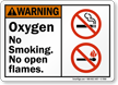 Oxygen, No Smoking No Open Flames Warning Sign