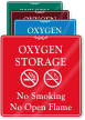 Oxygen Storage, No Smoking ShowCase Wall Sign