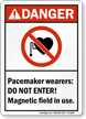 Pacemaker Wearers Do Not Enter Magnetic Field Sign