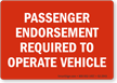 Passenger Endorsement Required To Operate Vehicle Label