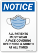 Patients Must Wear Face Covering Over Nose And Mouth Sign