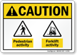 Pedestrian Forklift Activity ANSI Caution Sign