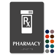 Pharmacy TactileTouch Braille Hospital Sign with Rx symbol