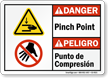 Pinch Point Punto De Compresion Bilingual Danger Sign