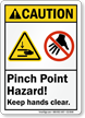 Pinch Point Hazard Keep Hands Clear Caution Sign