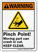 Pinch Point Moving Part Can Crash Cut Sign