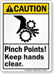 Pinch Points Keep Hands Clear Caution Sign