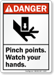 Danger Pinch Points Watch Your Hands Sign