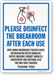 Please Disinfect The Breakroom After Each Use Sign