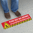 Please Keep Safe Distance Of 6 Feet SlipSafe Floor Sign