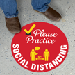 Please Practice Social Distancing  SlipSafe Floor Sign