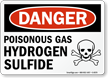 Danger Poisonous Gas Hydrogen Sulfide Sign