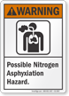 Possible Nitrogen Asphyxiation Hazard ANSI Warning Sign