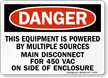 Powered By Multiple Sources Danger Sign