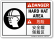 Hard Hat PPE Symbol Sign In English + Chinese