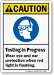 Testing In Progress Wear Eye, Ear Protection Sign