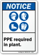 PPE Required In Plant ANSI Notice Sign