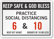 Practice Social Distancing Add Number Of Person Custom Sign