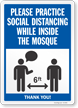 Practice Social Distancing While Inside The Mosque Sign