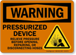 Pressurized Device Relieve Pressure Before Disconnecting Hoses Sign