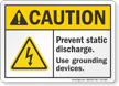 Prevent Static Discharge ANSI Caution Sign