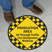 Production Area, Traffic Use Designated Walkways Sign