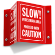 Slow Pedestrian Area Proceed Caution Sign