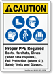 Proper PPE Required ANSI Caution Sign