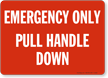 Emergency Only Pull Handle Down Sign