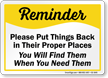 Safety Reminder Sign