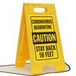 Quarantine Caution Stay Back 50 Feet FloorBoss Sign