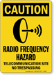 Radio Frequency Hazard Telecommunication Site Sign