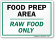Food Prep Area: Raw Food Only