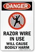 Razor Wire In Use Danger Sign