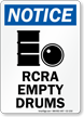 RCRA Empty Drums OSHA Notice Sign