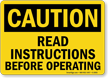 Caution: Read Instructions Before Operating