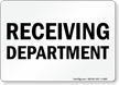 Receiving Department Sign