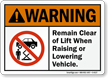 Remain Clear Of Lift Warning Sign
