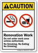 Renovation Work No Smoking Eating ANSI Caution Sign