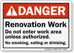 Renovation Work No Smoking, Eating Or Drinking Danger Sign