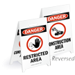 Danger Restricted Area Reversible Fold-Ups Floor Sign